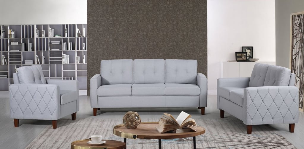 US Pride Furniture Kartier Mid-Century Linen Fabric 3-Piece Living Room Set