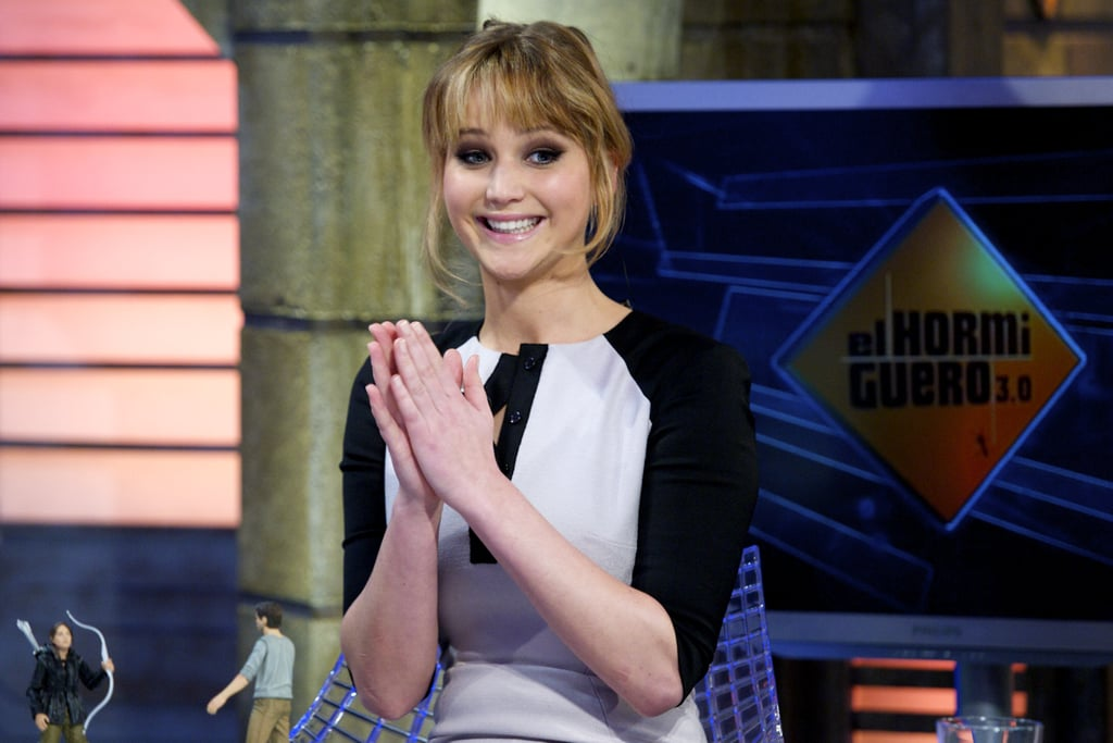 Jennifer Lawrence looked excited on the El Hormiguero show in Madrid.