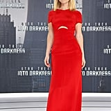 Alice Eve chose a stunning red Emilio Pucci gown — complete with subtle midriff cutout — for the Berlin premiere of Star Trek Into Darkness. While you may not be able to see them here, the blonde actress also wore Rene Caovilla shoes with the look.