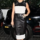Julianne Hough chose a black-and-white leather sheath that proved a minimalist-cool choice for the Topshop LA party.