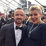 Another close-up look of Busy Philipps's turquoise necklace. Source: Twitter user Busyphillips25