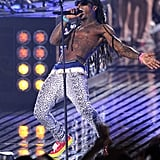 Lil Wayne went shirtless to close out the show.