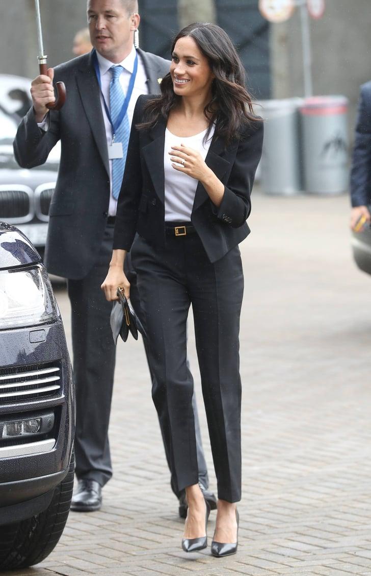 meghan markle s black pantsuit ireland 2018 popsugar fashion meghan markle s black pantsuit ireland