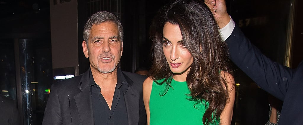 Amal Braved the Rain to Wear This Little Versace Dress, and We Don't Blame Her