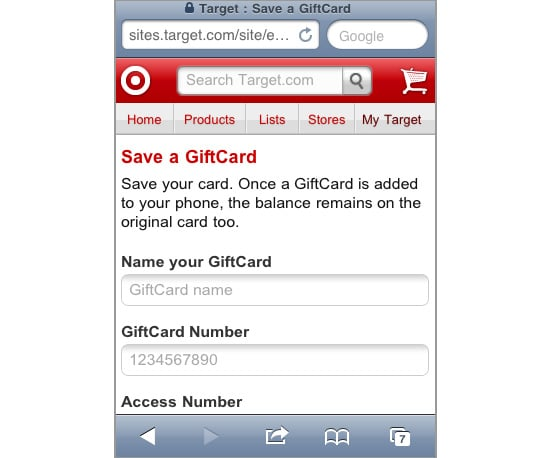 Target Mobile Gift Card