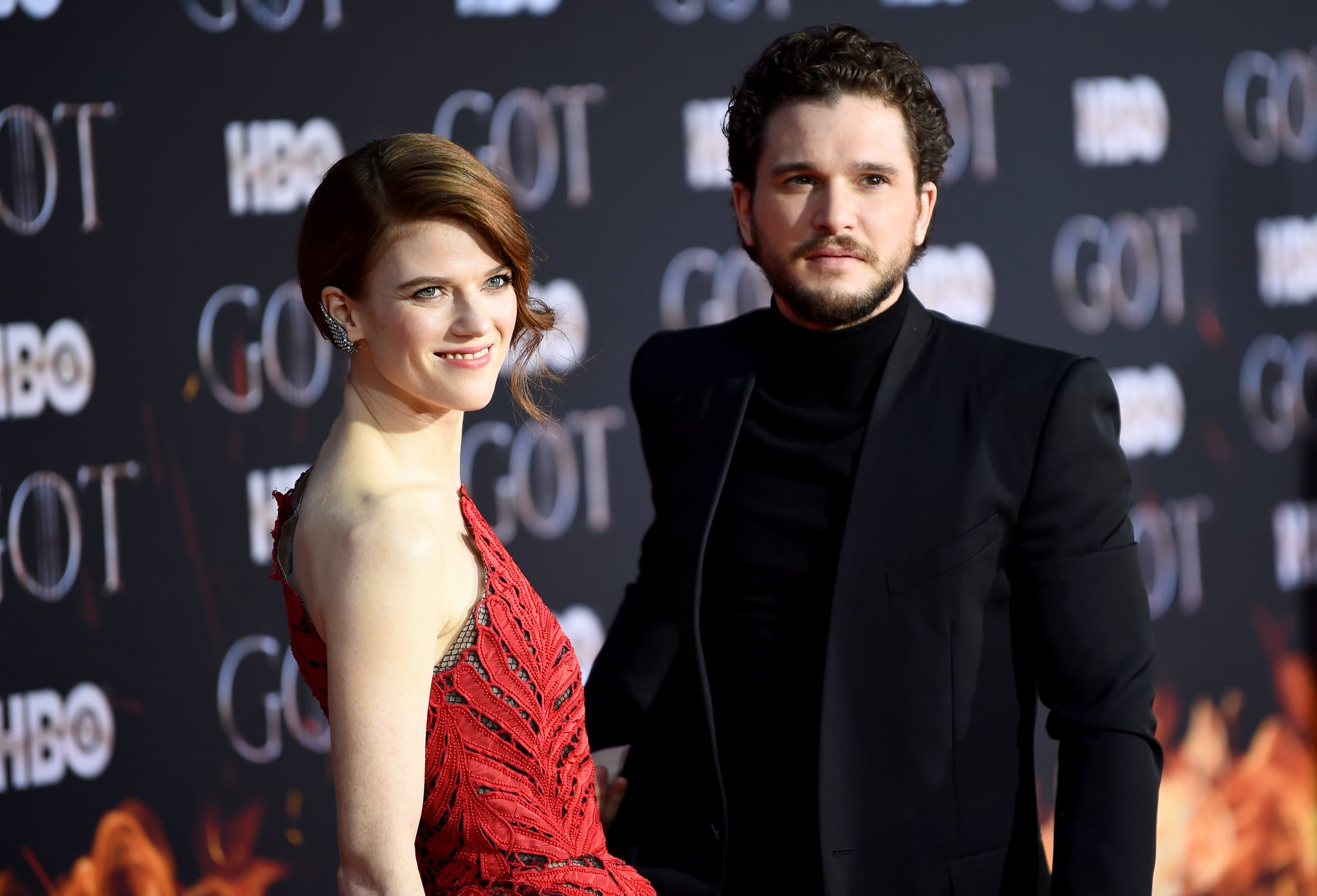 NEW YORK, NEW YORK - APRIL 03: Rose Leslie and Kit Harington attend the