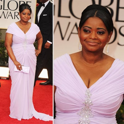 Octavia Spencer Wears Lilac Tadashi Shoji, Christian Louboutin Heels at the 2012 Golden Globes