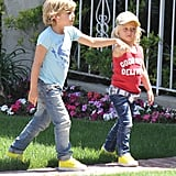 Zuma Rossdale and Kingston Rossdale held hands on the way to a birthday party with mom Gwen Stefani.