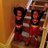 Rocco and Monroe Cannon donned matching super hero costumes.  Source: Instagram user mariahcarey