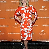 Kelly Ripa matched an orange and white printed dress with crisp white pumps at the Newhouse Mirror Awards in NYC.