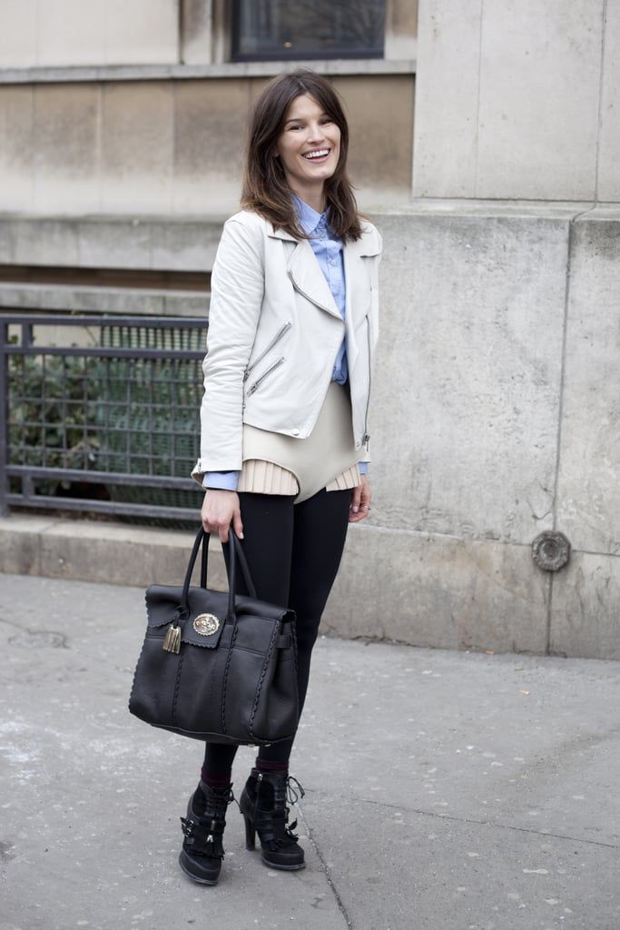 Hanneli Mustaparta never fails to bring her A-game, this time in a tailored moto jacket and preppy layers.