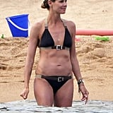 Heidi Klum wore a blue two-piece in August 2011 during a trip to Sardinia.