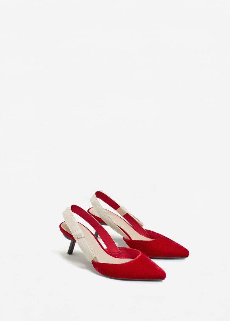 Mango Velvet Slingback Shoes