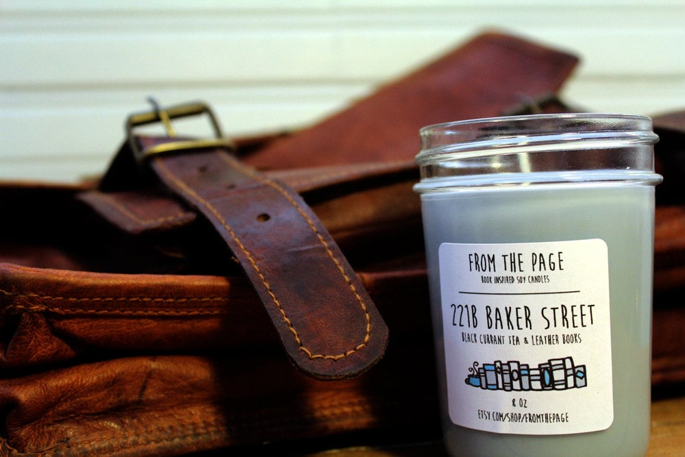 221B Baker Street candle ($11) with black tea and leather-bound book notes