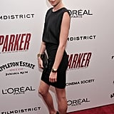 Emma Booth looked chic in a simple black dress at the NYC screening of Parker on Jan. 23.