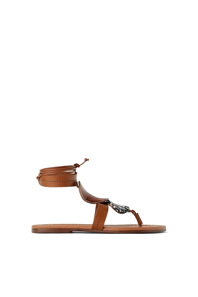 bd0a1aeed61 Zara Studio Flat Leather Sandals