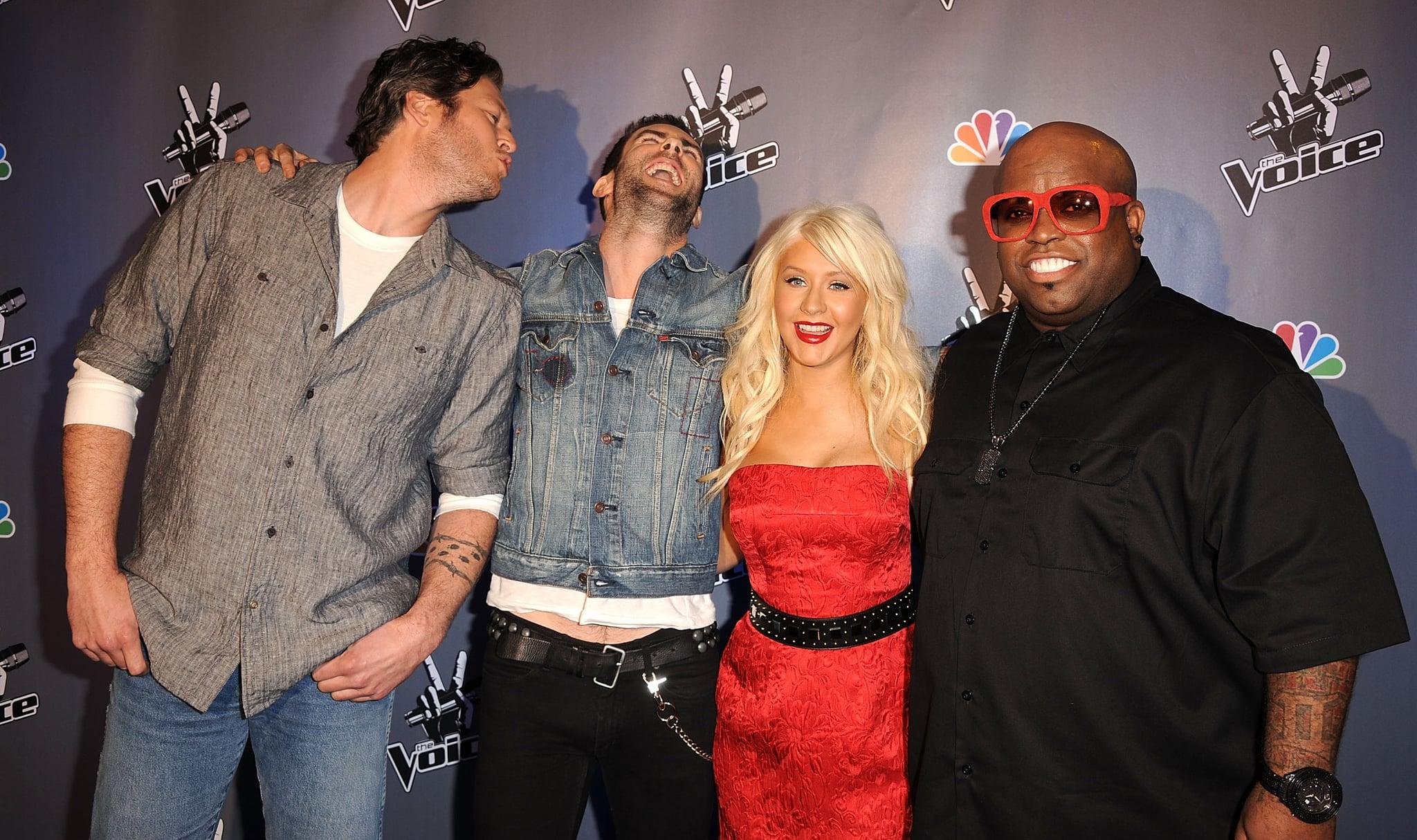 (L-R) Blake Shelton, Adam Levine, Christina Aguilera and Cee-Lo attends NBC's