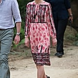 On safari in India, Kate paired a pink-and-black Topshop dress for $111 with $89 wedges from Dune.