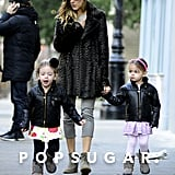 Sarah Jessica Parker took a walk with her twins, Tabitha and Loretta, in NYC.