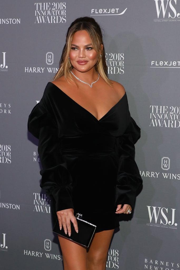 Chrissy Teigen Black Velvet Dress WSJ Awards November 2018