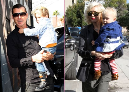 Gwen and the boys on their way to Cruz Beckham's 5th birthday