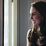 In March, Kate couldn't hide her big grin as she listened to her husband deliver a speech during a reception at the British embassy in Paris.