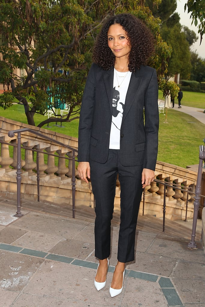Thandie Newton's white pumps added an unexpected ending to her cropped suit and printed tee at the 2013 Winter TCA Panel in Pasadena, CA.