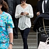 Lauren Conrad gave us a casual look to love in a slouchy sweater and oversize shades.
