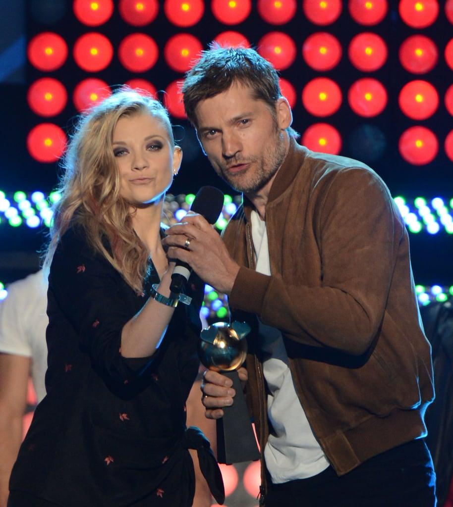 Game of Thrones' Natalie Dormer and Nikolaj Coster-Waldau took the stage at the MTVu Fandom Awards on Thursday.
