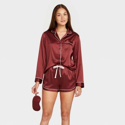Stars Above Satin Long Sleeve Top and Shorts Pajama Set with Eye Cover