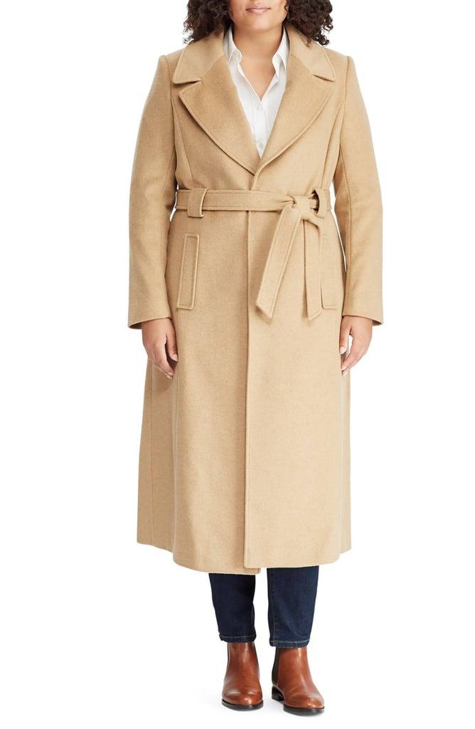 Lauren Ralph Lauren Wool Blend Belted Wrap Coat