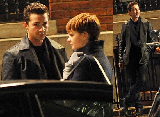 Photos of Shia LaBeouf and Carey Mulligan Filming on the Set of Money Never Sleeps in NYC