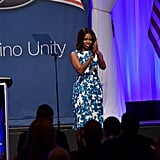 Obviously, blue is Michelle's color. She wore this demure Tanya Taylor dress at the LULAC/NUVOtv Unity Luncheon in New York, where she hung out with Jennifer Lopez.