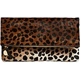 Clare V. Genuine Calf Hair Leopard-Print Foldover Clutch