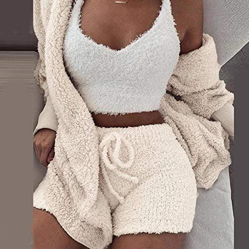 Warm Fuzzy Fleece 3 Piece Crop Top Short Set