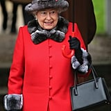 Queen Elizabeth II looked festive as ever for Christmas service in 2015.