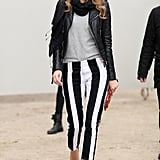 Nothing says you're a master of monochromatics like wide, black-and-white, vertical stripes on your trousers.