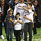 David Beckham was happy to be surrounded by his sons Romeo, Cruz, and Brooklyn after his victory over Chivas USA.
