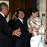 Tom Cruise and Katie Holmes left their rehearsal dinner with Suri on Nov. 17, 2006.