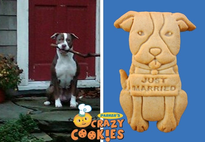 "Custom ""Just Married"" Doggy Cookies"
