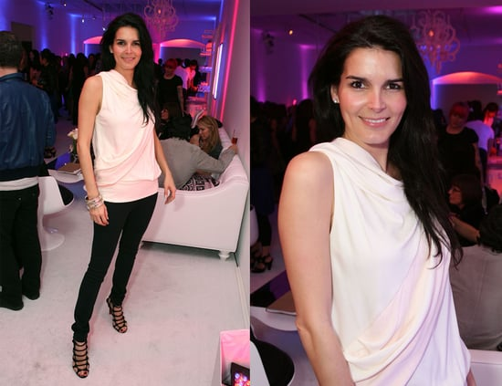 Angie Harmon Attends Launch Party for LATISSE Wearing White Draped Top and Christian Louboutin Strappy Sandals
