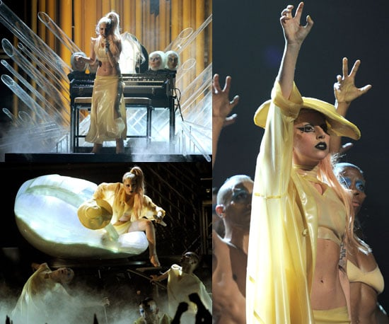 """Photos of Lady Gaga's 2011 Grammy Awards Performance """"Born This Way"""", Coming Out of Egg-Shaped Womb"""
