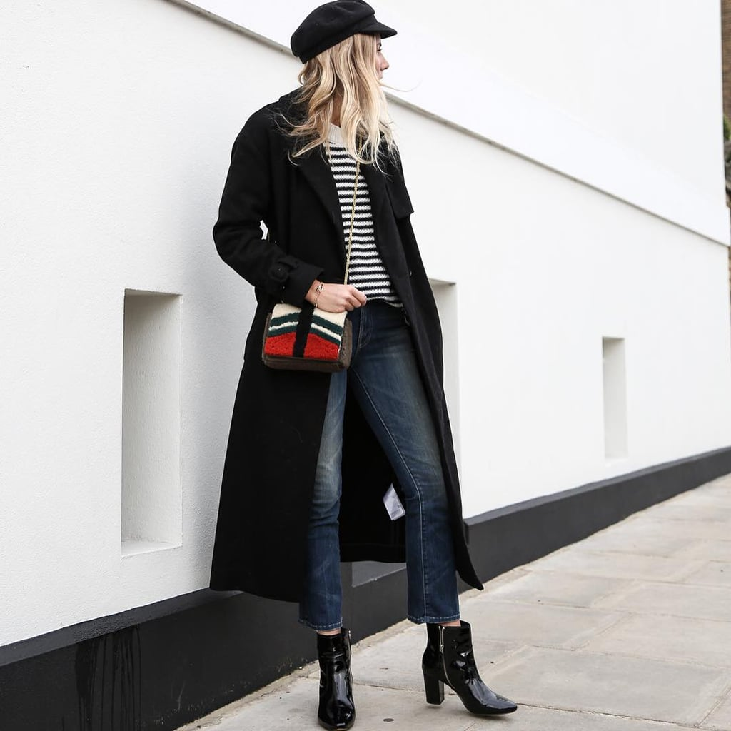 With a Striped Shirt, Booties, and a Cap