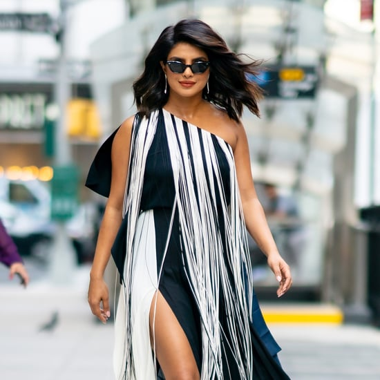Priyanka Chopra Black and White Fringe Dress