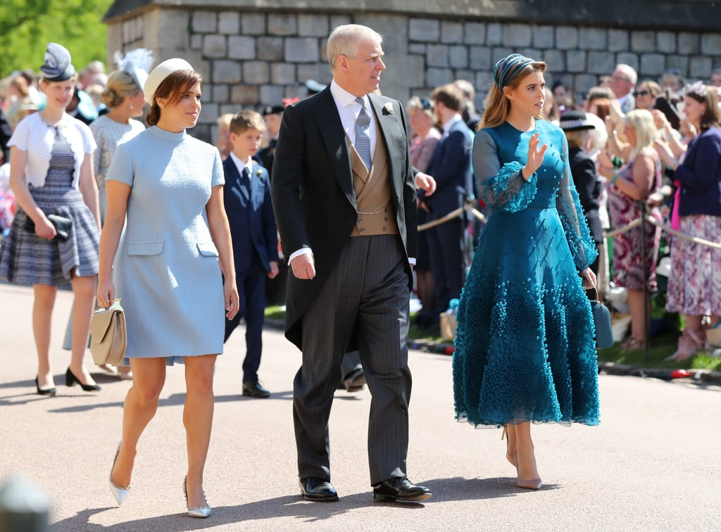 For Prince Harry and Meghan Markle's wedding, Beatrice wore a custom design by Roksanda Ilincic, which featured sheer sleeves and hundreds of beads. Eugenie surprised everyone with an outfit that gave us major Jackie O vibes.