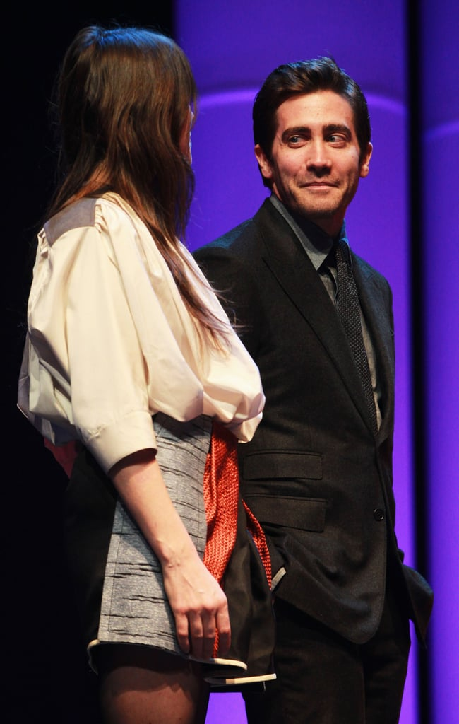 Jake held eye contact with his fellow juror Charlotte Gainsbourg.