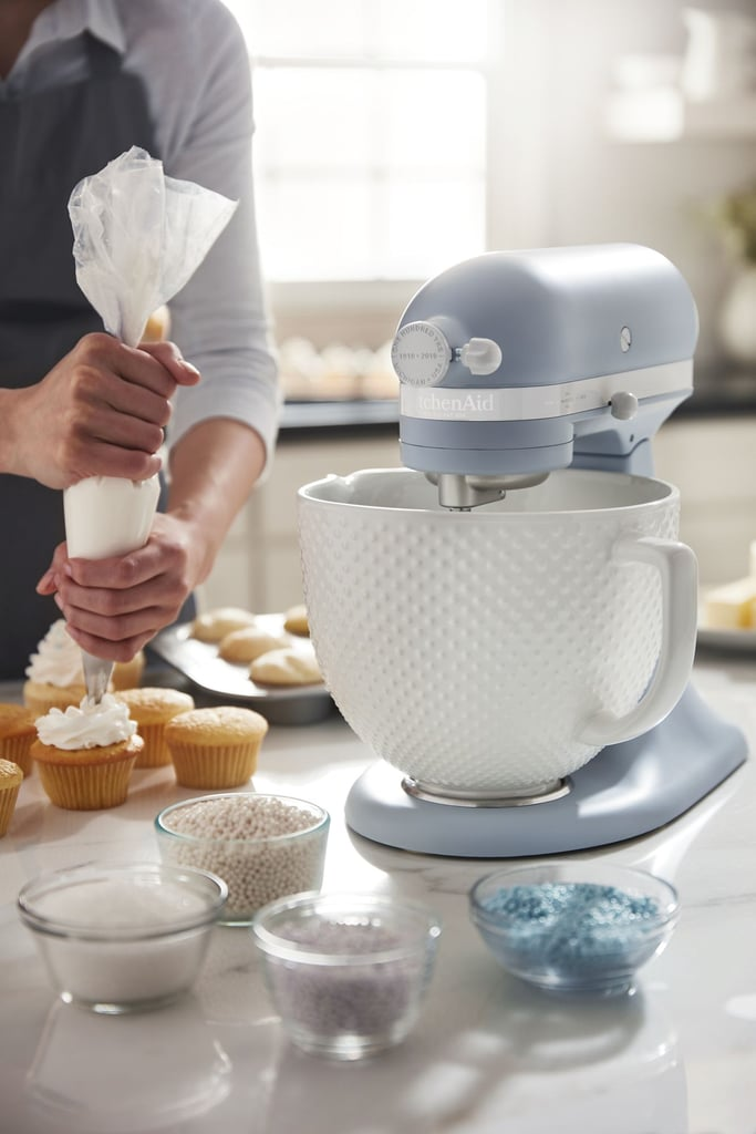 "KitchenAid is celebrating its centennial with a gift to its shoppers — a few gifts, actually. The home appliance company, which first launched in 1919, released a limited-edition line in a custom ""misty blue"" color. In addition to a new misty blue oven — for a casual $7,799, by the way — KitchenAid also released two new stand mixers in the calming color. One of the mixers comes with a practical stainless steel bowl, and for slightly more, there's also one with a retro ceramic bowl. Shop both options ahead!      Related:                                                                                                           25 Genius Kitchen Gadgets That Will Change Your Life in 2019 — For Less Than $50"
