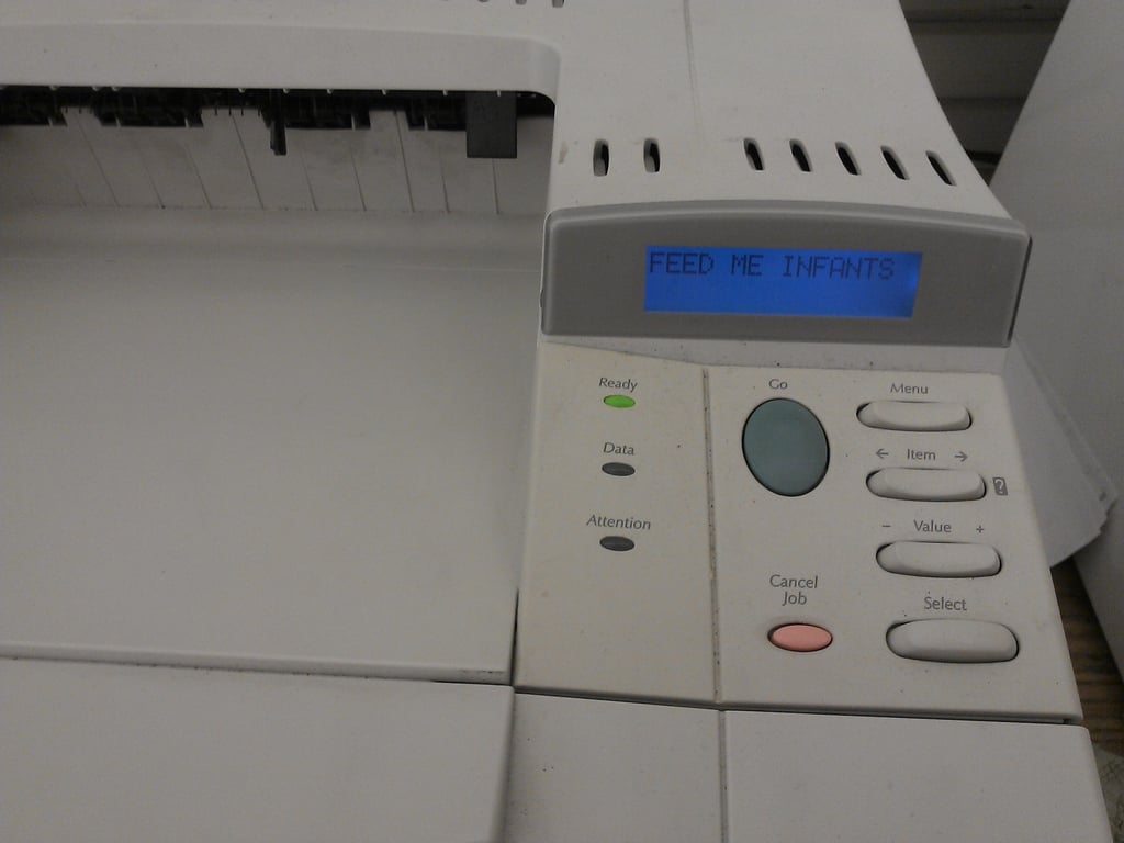 Hack the printer to say something funny.