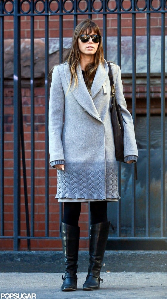 Jessica Biel wore sunglasses and a gray coat for an outing in NYC.