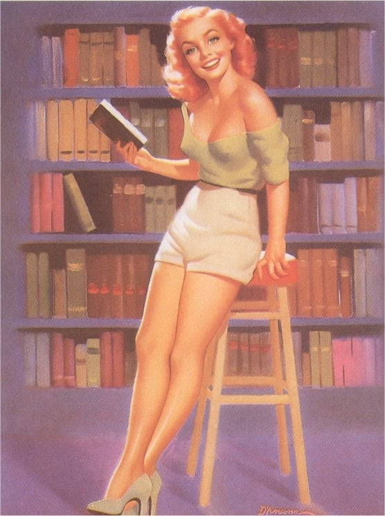 We saw sexy librarians portrayed in the pinup art of the 1940s and '50s, like this bookish pinup girl by artist Edward D'Ancona.